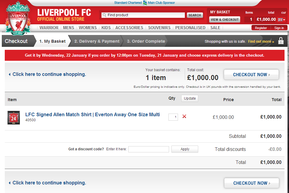 Liverpool Fc Discount Voucher Codes Get Free Delivery My Voucher