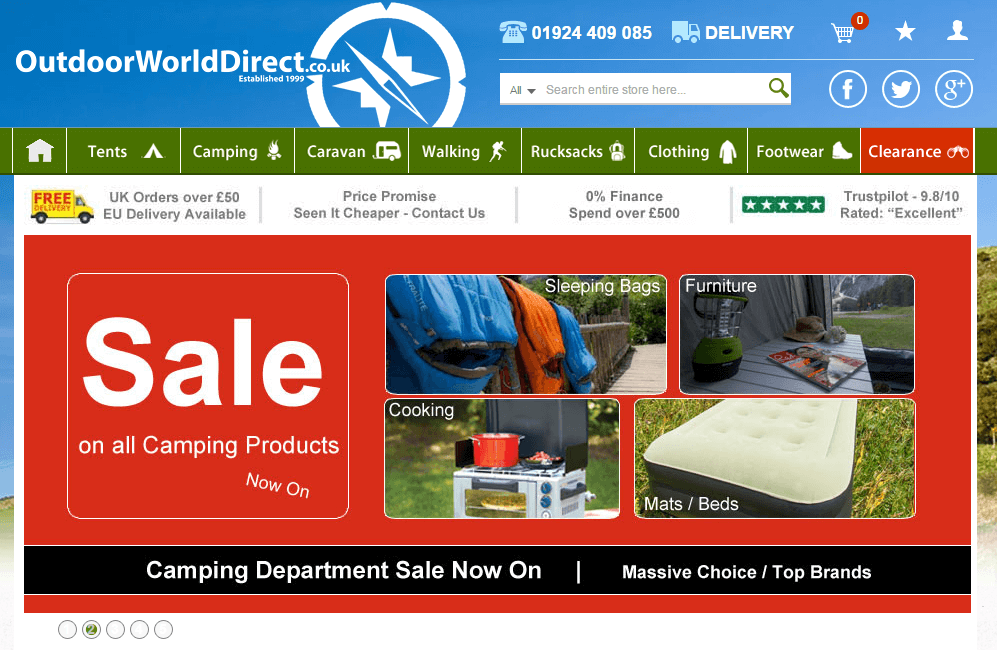 At Outdoor World, you will find the best selection of camping and outdoor equipment and accessories. Shop online and get the best deals on tents and accessories, outdoor clothing, rucksacks, travel and survival gear and other camping and outdoor essentials from some of the best brands.