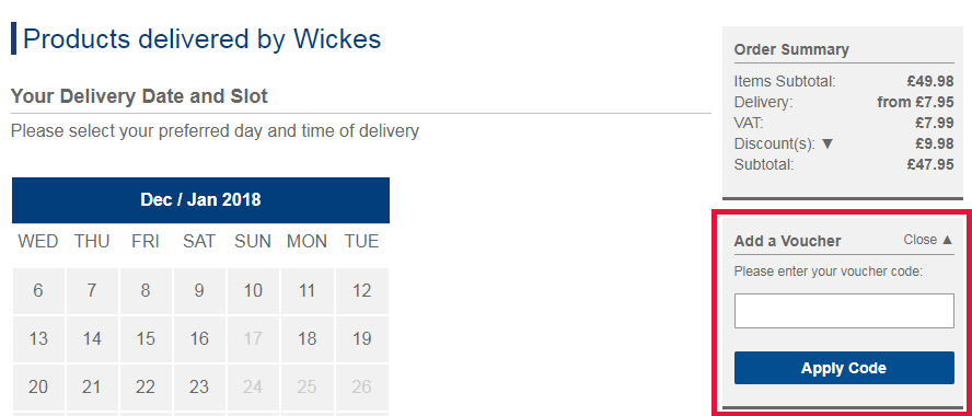 Wickes Voucher Redemption Image