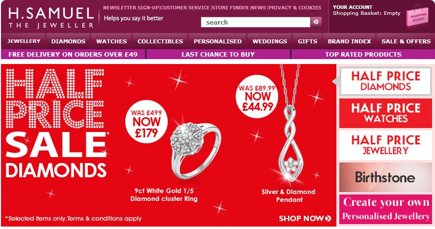 H Samuel Discount Code and Deals - December Click here to see all current promo codes, deals, discount codes and special offers from H Samuel for December Use it before it's gone.