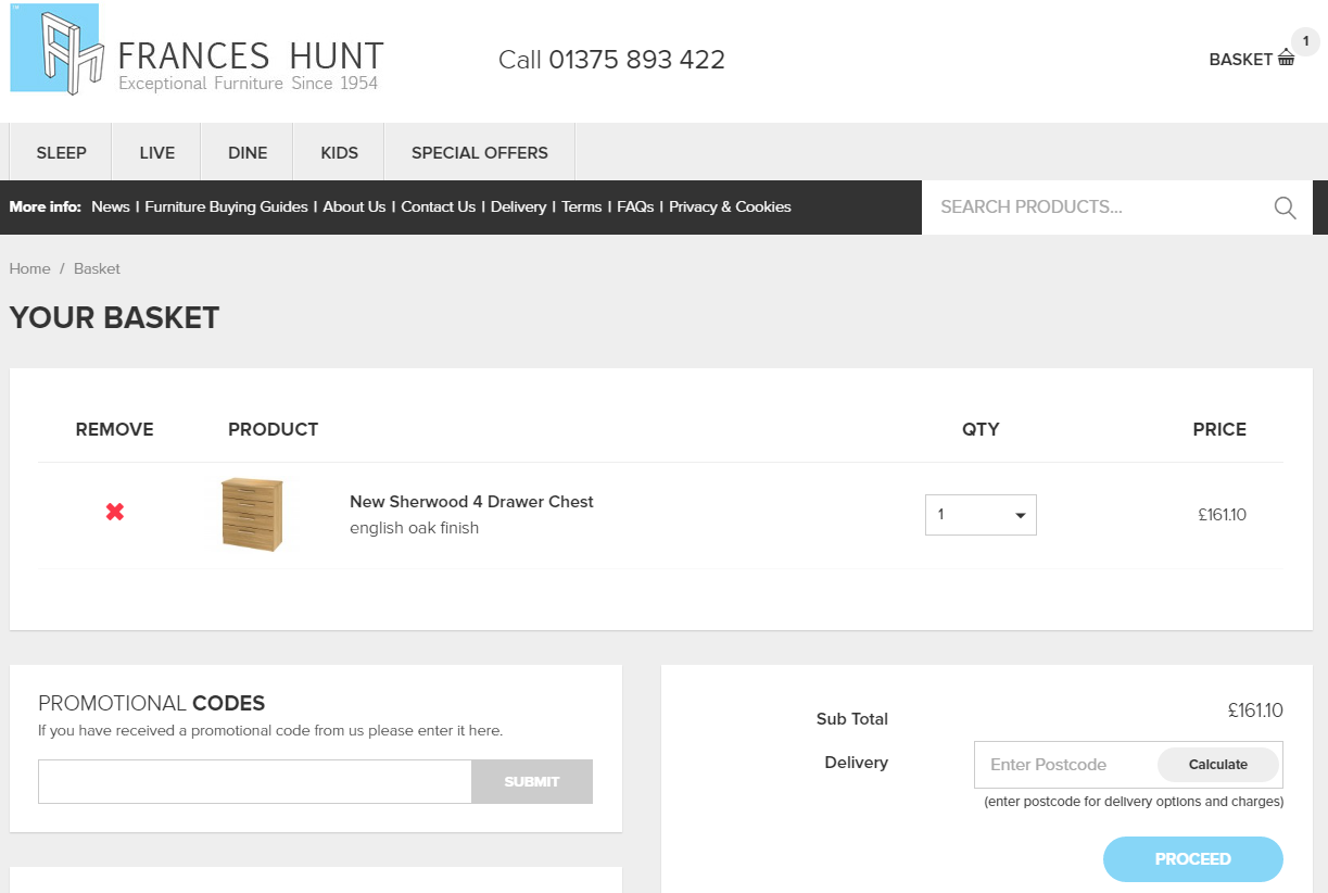 On this page you will see a box labelled  Promotional Codes   Paste your voucher  code into this box and click  Submit   Your voucher code should now be. Frances Hunt Furniture Voucher Codes   Deals    80 Off