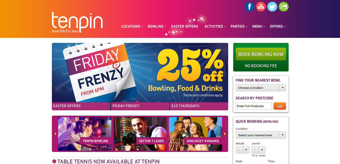 You can find out if your nearest Tenpin offers this by searching for them on the homepage and viewing your local Tenpin's own page. With a Tenpin discount code on us, this can be a fun alternative to watching sport at home or in the pub, as you can enjoy a game with .