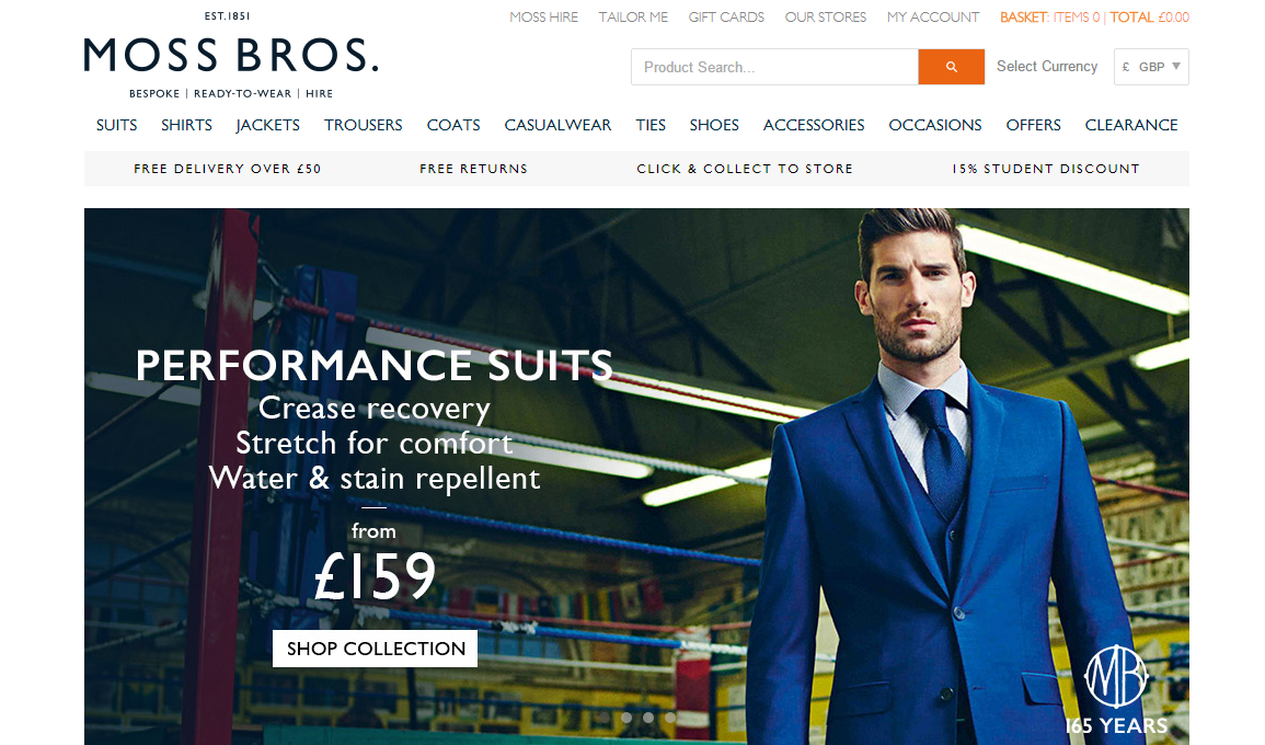Moss bros discount coupons