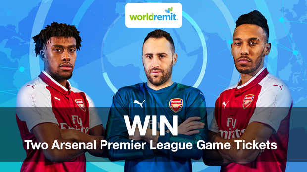 WIN Two Arsenal Premier League Home Game Tickets With WorldRemit