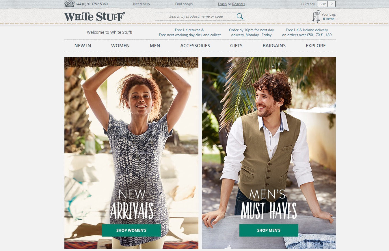 White Stuff is a lifestyle and fashion brand that sells men and women's clothing. Buyers can visit the online store or any of the 85 shops and concessions spread out across the UK to browse products for men and women, gifts and accessories.