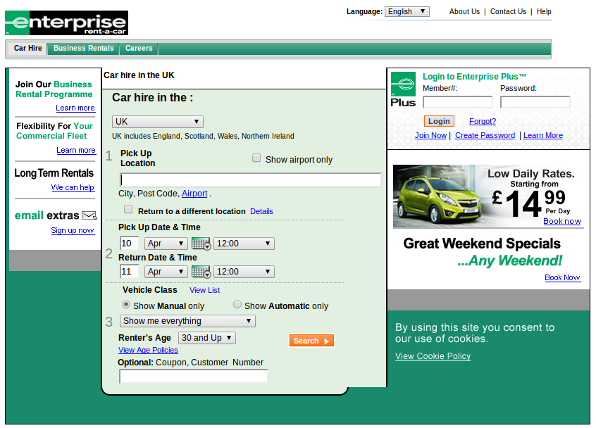 Enterprise rent a car coupon code