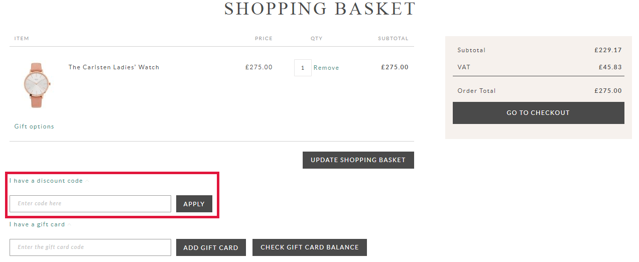 Osprey London Discount Code Redemption Image