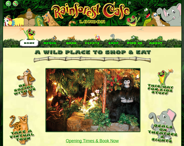 Rainforest Cafe Japan Menu