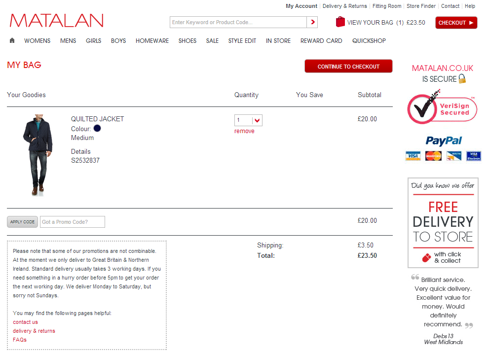 Voucher codes can sometimes have restrictions such as full price items only, first orders or selected departments. If you can't see any promo codes you can use now in November , follow Matalan on VoucherCodes to be among the first to find out when there's a new Matalan promo code.