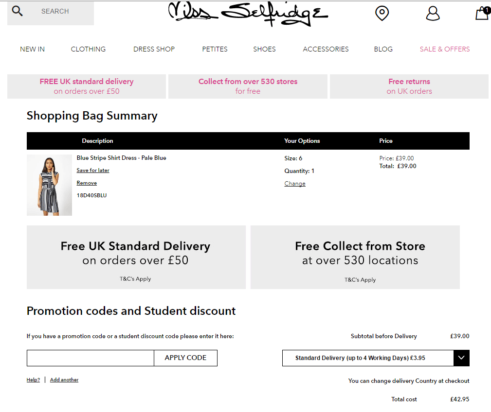 Selfridges coupon code