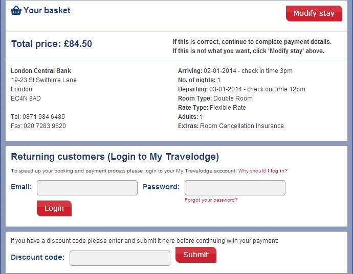 Travelodge checkout voucher