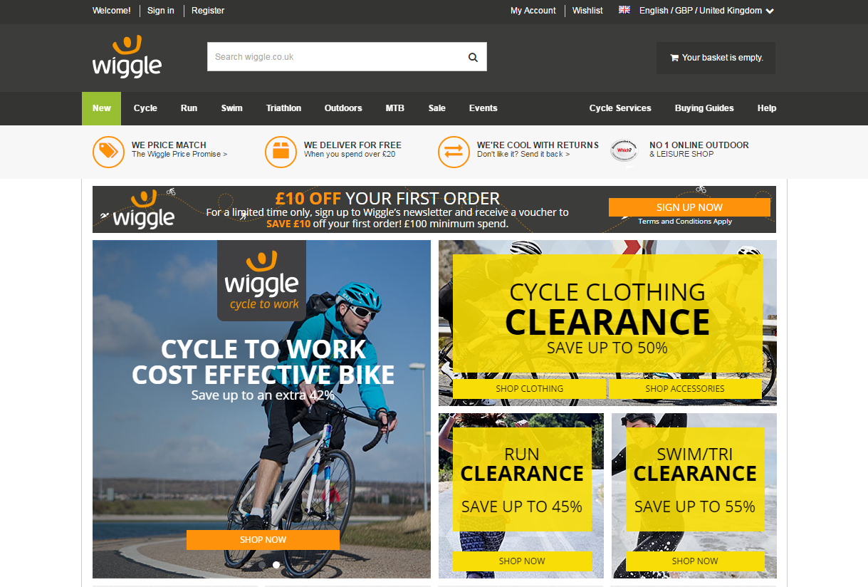 Wiggle Discount Code website view Wiggle Ltd is an online retail company that sells sporting goods. It is one of the largest bicycle and tri-sports goods retailers in the United Kingdom.