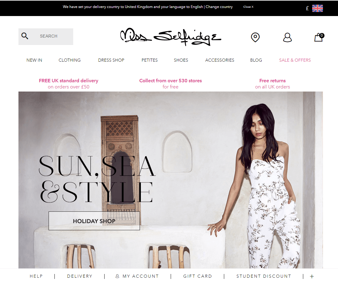 Getting a discount at Miss Selfridge couldn't be easier - all you have to do is sign up to the newsletter and you'll get a 10% Miss Selfridge promo code on your first order.