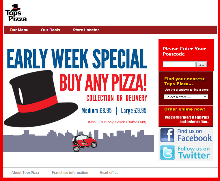 Tops Pizza Voucher Codes November Check out our latest deals and discounts for Tops Pizza valid November We constantly trawl the web so you can enjoy Tops Pizza.