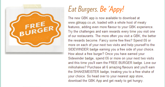 Gourmet Burger Kitchen app